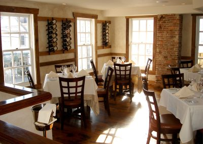 The upstairs wine room
